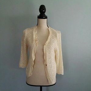 Gap Women's Crochet Knit Cropped  Cardigan SZ: M